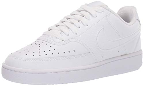 Nike Womens Court Vision Low Sneaker Basketball Shoe, White/White-White, 38.5 EU