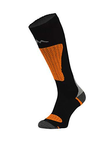 Freenord Energytech SKI Funktionssocken Skisocken Skistrümpfe 1 PAK oder 2 PAK (1 Pack schwarz/orange, 43-46)