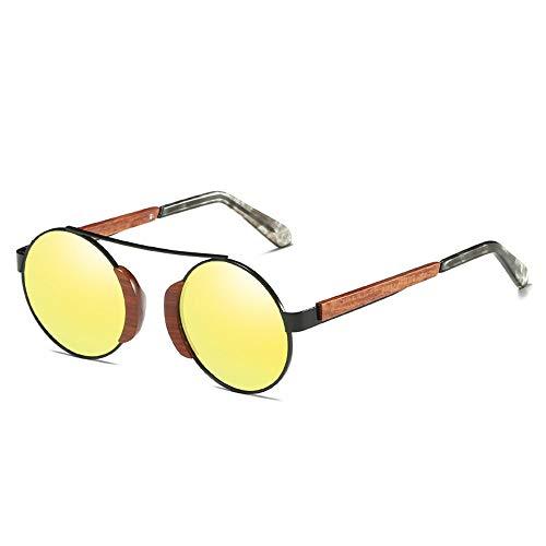 TYXL Gafas de Sol Unisexyellow Retro Recubrimiento Película Gafas De Sol Protección UV400 Marco De Madera Lente De Resina Polarizada Lente HD Impacto Visual Fuerte (Color : Yellow)
