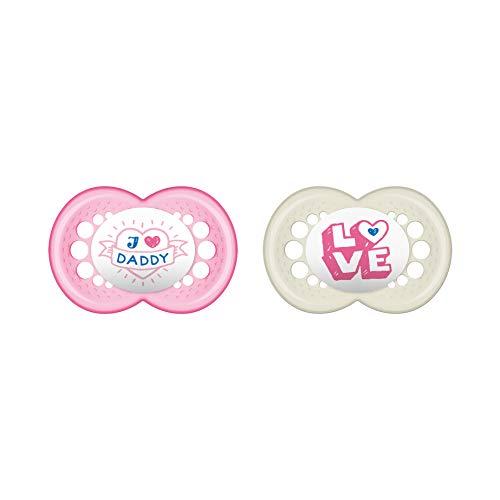 MAM Original Silikon Schnuller im 2er-Set, besonders sanfter Schnuller, Baby Schnuller aus speziellem MAM SkinSoft Silikon mit Schnullerbox, 6 - 16 Monate, rosa
