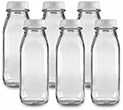 The Dairy Shoppe 1 Pint Glass Water Bottle 16 Oz (Pack of 6)