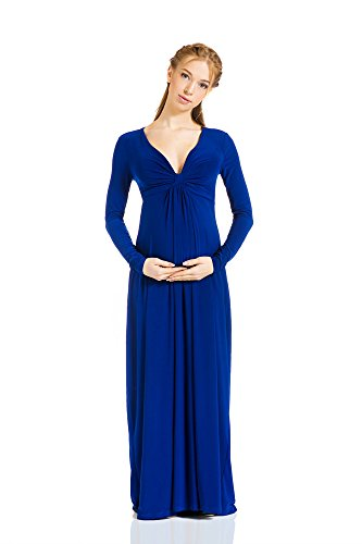 Maternity And Nursing Dress Francesca Knot Front Maxi By Nothing But Love (Medium, Blue)