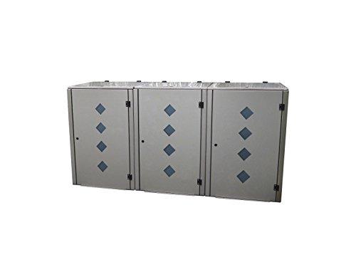 Mülltonnenbox Edelstahl, Modell Eleganza Raut als Dreierbox für drei 240 Liter Tonnen