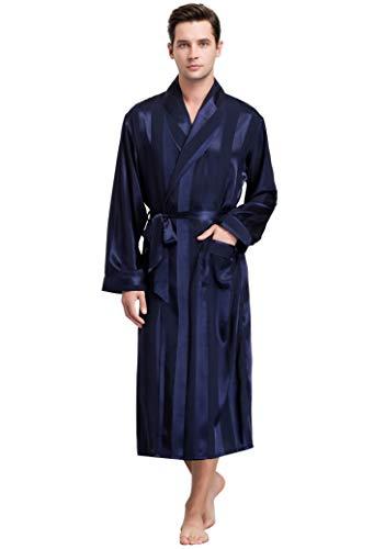 Lonxu Mens Satin Robe Navy Blue Striped 2XL