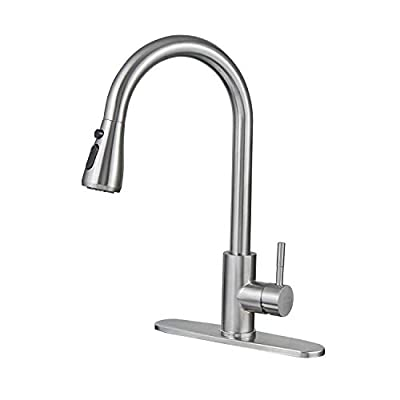LEADALLWAY Kitchen Faucet with Single Handle, 3 Mode Single Level Stainless Steel Kitchen Sink Faucets with Pull Down Sprayer