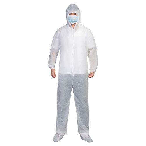 Shulky HULKY Einweg-Schutzanzug wasserdichte ölbeständiger Schutzanzug Kleidung Overall mit Kapuze Suit Workwear,Einweg-Chemikalienschutzanzug Laboroveralls(Weiß,2XL)