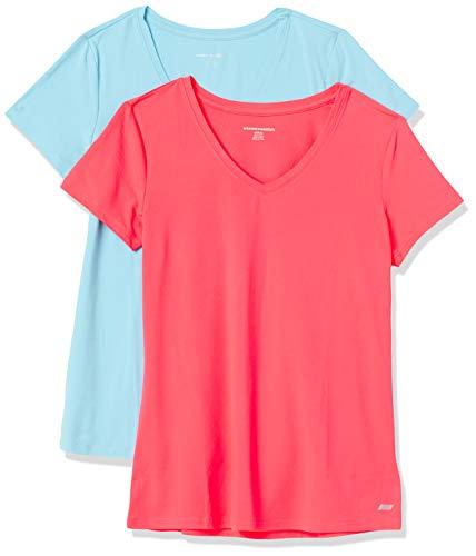 Amazon Essentials 2-Pack Tech Stretch Short-Sleeve V-Neck T-Shirt Chemisier- Femme - Topaze bleue/rose fluo. - US M (EU M - L)