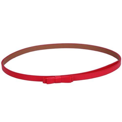 Bigood Mode modisch Taillengürtel Schleife Deko Schmal Gürtel Farbig Kleidgürtel Länge 103cm Rot