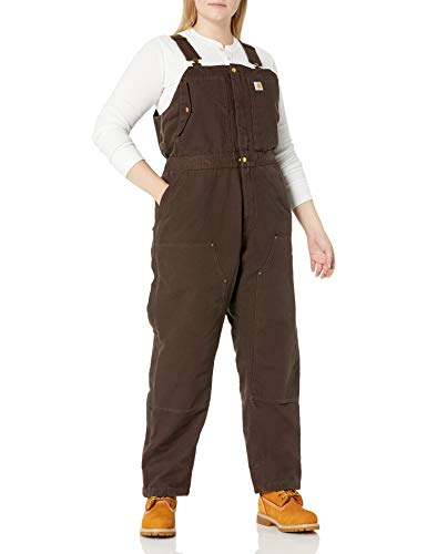 Carhartt Women's Weathered Duck Wildwood Bib Overalls (Regular and Plus Sizes), Dark Brown, Small Short