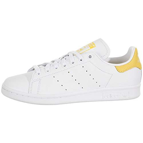 adidas Originals Women's Stan Smith Sneaker, Footwear White/Footwear White/Core Yellow, 8