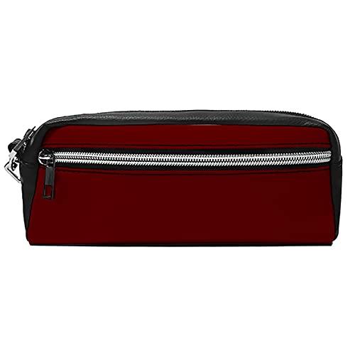 Bolsas de cosméticos portátiles Estuche para lápices Magic School Maquillaje Bolsa Burdeos Rojo PU Cuero Neceser Cartera Hangbag Pen Organizador con cremallera