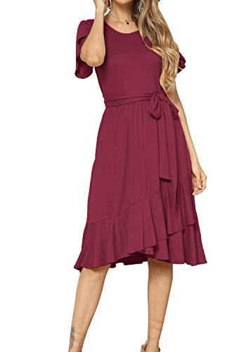 levaca Women Plain Casual Swing Ruffle Midi Dress with Belt Wine M