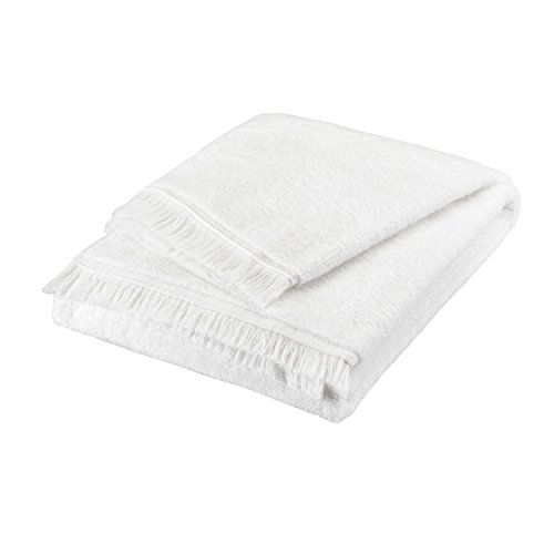 Serviette de Bain - 100% Coton peigné Longues Fibres 550 g/m² - uni Blanc BLANC CERISE 50x90 cm
