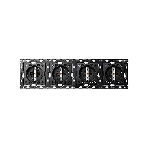 Kit back para 4 elementos con 4 bases enchufe Schuko, serie 100, 6 x 17 x 7 centímetros, color negro (referencia: 10010401-039)