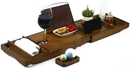 Cabot & Carlyle Luxury Bath Caddy Tray for Tub | Bath Table | Premium Bamboo Bathtub Tray for Tub | Fits All Bath Accessories Wine Glass, Books,...