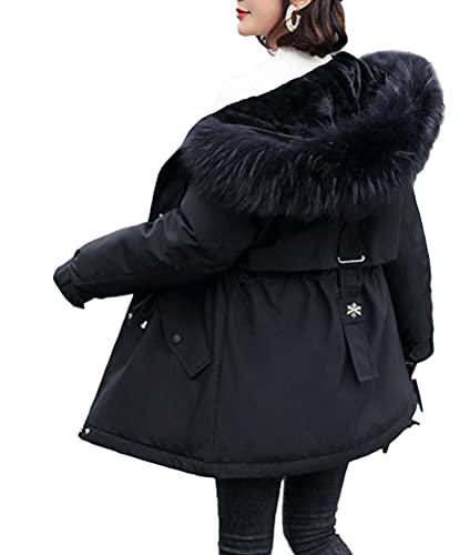 Minetom Manteau Femme Hiver Doudoune Chaud Parka Longue Blouson À Capuche en Fausse Fourrure Trenche Grande Taille Duvet en Coton C Noir 3XL