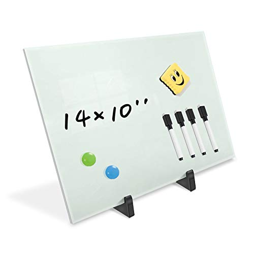 Small Glass Dry Erase Board Desktop Easel - 10 x 14 inches, Magnetic Glass Whiteboard on Stand for Table Desk, Great for Office Home, Stain-Resistant Tempered Glass