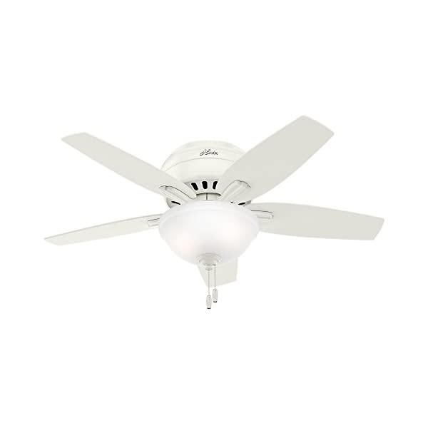 Hunter Fan Company 51080 Hunter Newsome Indoor Low Profile Ceiling Fan with LED Light and Pull Chain Control, 42″, Fresh White