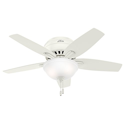 Hunter Indoor Low Profile Ceiling Fan with light and pull chain control - Bowl 42 inch, White, 51080