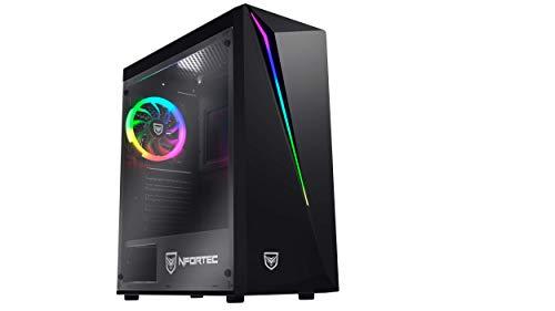 Nfortec Lynx - Torre Gaming Compatible con placas ATX, Mini-ATX e ITX y Ventilador RGB Incluido en la Parte Trasera, Negra RGB (cristal templado)