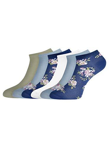 oodji Ultra Mujer Calcetines Tobilleros (Pack de 6), Multicolor, ES 35-37 / S