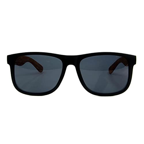 Óculos De Sol Masculino Hastes Madeira Luke Polarizado Uv400 (Preto)