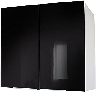 Berlenus CP8HN - Mueble de Cocina con Dos Puertas (80 cm) Color Negro Brillante