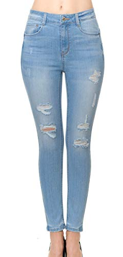 Wax Jean Women's 'Butt I Love You' Push-Up Destructed Ripped Skinny Jean in Fine Cotton Denim, Light Denim, 7