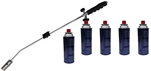 Désherbeur thermique avec allumage + Lot de 5 bouteilles de gaz sous pression CW3000 Brûleur de mauvaises herbes Ver tilger