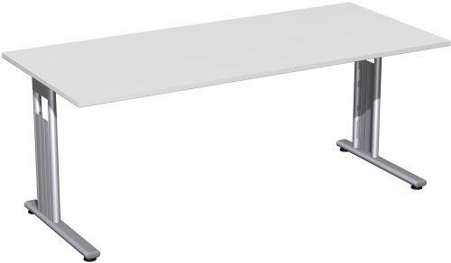 Gera Möbel C Fuß Flex Schreibtisch, Holzdekor, lichtgrau/Silber, 180 x 80 x 72 cm