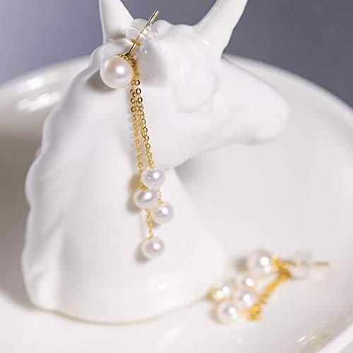 KGDC Pendientes Pendientes Brillantes Perlas de Agua Dulce Pendientes de la Borla de Oro 18K, señoras de joyería de Perlas (Blanco) Aretes para Mujeres (Color : C)