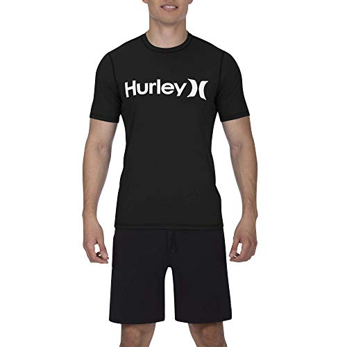 Hurley Men's One & Only Short Sleeve Sun Protection Rashguard, Black//White, L