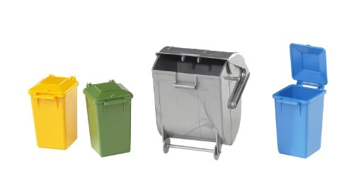 Bruder 02607 TOYS Zubehör: Mülltonnen-Set (3 kleine und 1 große Tonne)