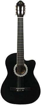 SLZFLSSHPK Guitarra acustica Guitarra Clasica Guitarra 39 Pulgadas, Negro Mate, ángulo faltante, Madera clásica