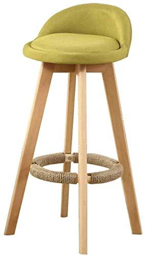 Zfggd Sillas taburete de la barra de la cocina con taburetes de la PU del asiento de madera y taburetes altos a casa Desayuno Cena de la silla Piernas maciza natural con espuma tipo cojín contemporáne