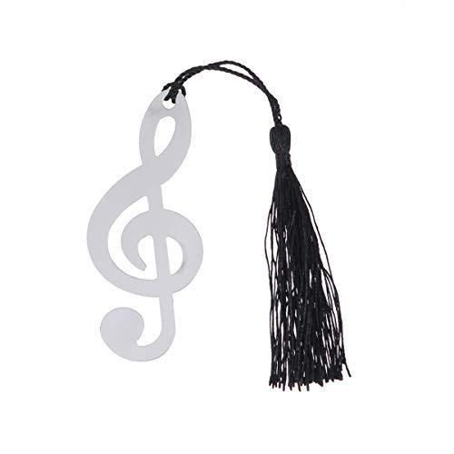 Amosfun Segnalibro in acciaio inossidabile da 10 pezzi con nota musicale con regali di laurea neri con nappa (Argento)