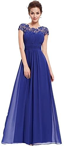 emmarcon Abito Lungo Cerimonia Elegante da Donna in Chiffon, Vestito da Damigella, Schiena Scoperta A8969BL-L