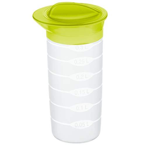 Rotho Shaker Shaker 0.3l mit Deckel und Skala, Kunststoff (PP) BPA-frei, transparent/grün, 0,3l (8,0 x 8,0 x 16,0 cm)