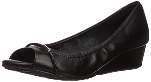 Cole Haan Damen Emory Braided Band Open Toe Wedge (40MM) Zehenkeil, geflochten, 40 mm, schwarzes Leder, 38 EU