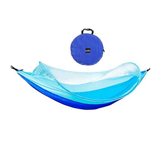LHY DECORATION Hamac de Camping en Plein Air Portable avec Moustiquaire 1-2 Personnes Parachute Tissu Hamac Suspendu Chasse Lit de Couchage,Bleu