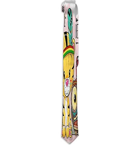 Niedliche Cartoon Tribal Tiger Eule Feder Niedliche Cartoon Tribal Ti Krawatte Herren Krawatten Halsband