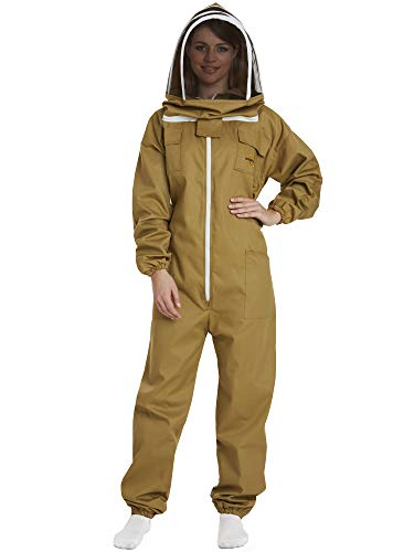 Natural Apiary Apiarist Beekeeping Suit - (All-in-One) - Fencing Veil - Total Protection for Professional & Beginner Beekeepers - Khaki - 2X Small
