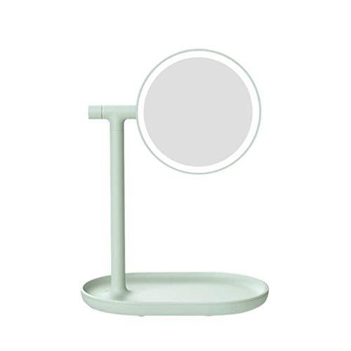 Artículos para el hogar y succión Espejo de maquillaje con luz, Espejo de maquillaje abatible Luz LED creativa Lámpara de mesa de tocador con aumento Almacenamiento de escritorio (Color: Rosa) (Color