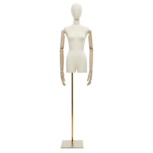 Barture Maniquí De Costura Busto Maniquies Mujer Altura Ajustable con Brazo De Madera Maciza para Exhibición De Ropa (Color : B)