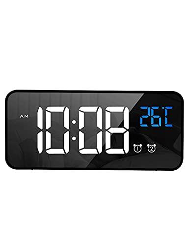 Reloj de Alarma electrónico, Luz Cuadrada LED LED Dimmable Recargable Música Portátil Reloj de Alarma para, Dormitorio Aprendizaje Niños (Color : Black)