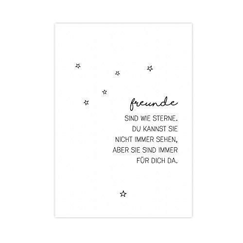 Freunde sind wie Sterne - Kunstdruck auf wunderbarem Hahnemühle Papier DIN A4 -ohne Rahmen- schwarz-weißes Bild Poster zur Deko im Büro/Wohnung/als Geschenk Mitbringsel zum Geburtstag etc.