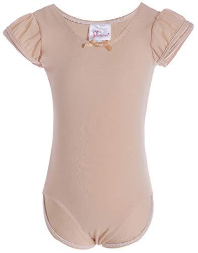 Dancina Beige Leotard Flutter Sleeve Girls Athletic Motionwear for Ballet Dance Recital 10 Beige