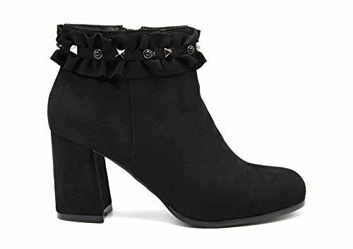 Oh My Shop SHF88 enkellaarzen, vierkant, suède-look, met contouren, spijkers en parels (zwart)