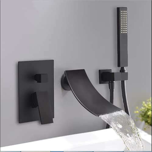 KunMai Modern Waterfall Wall-Mount Tub Filler Faucet with Handshower in Chrome/Black (Black)