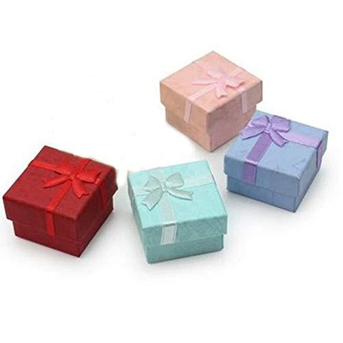 4 Stück Geschenkbox, Klein Geschenkbox quadratisch, Schmuckgeschenkboxen - Geschenkverpackungen aus Karton mit Deckeln für Halsketten Ringe Ohrringe oder als Displaybox